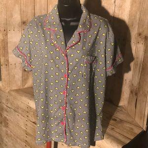 Disney Luxe Women's Pajama Top Shirt Short Sleeve